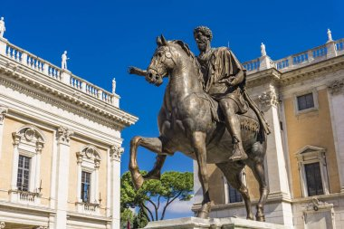 Statue of Marcus Aurelius on Piazza del Campidoglio in Rome, Italy