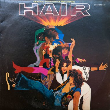 Cover of vinyl album Hair: Original Soundtrack Recording. It is the soundtrack album from the 1979 musical film Hair