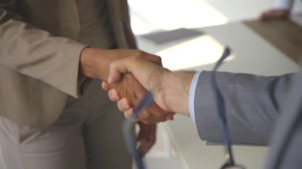 Obchodní dohoda a úspěšná vyjednávací koncepce, obchodník v obleku potřást rukou s Afroameričankou