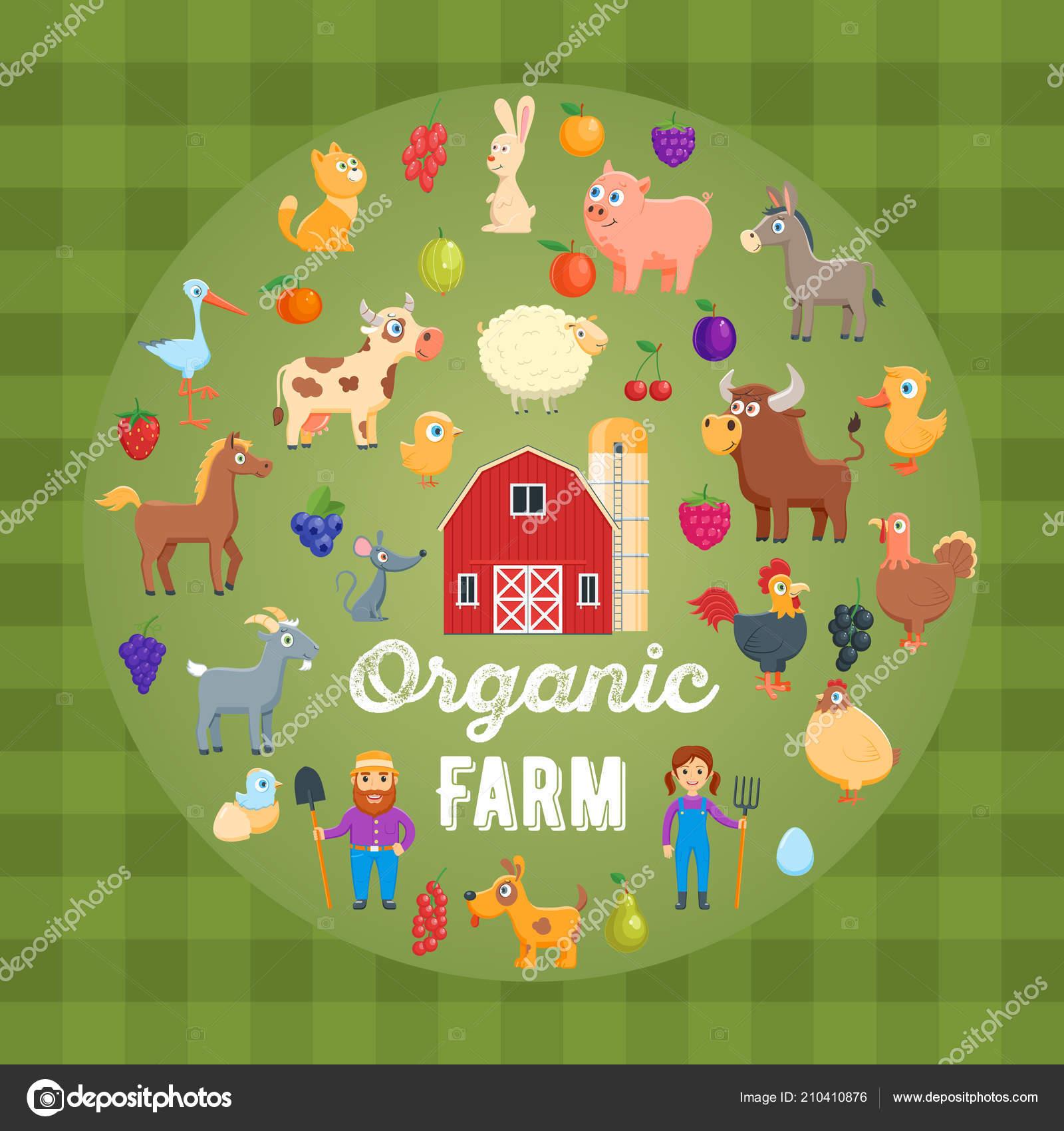 organic farm concept cartoon images poultry farm animals farmers
