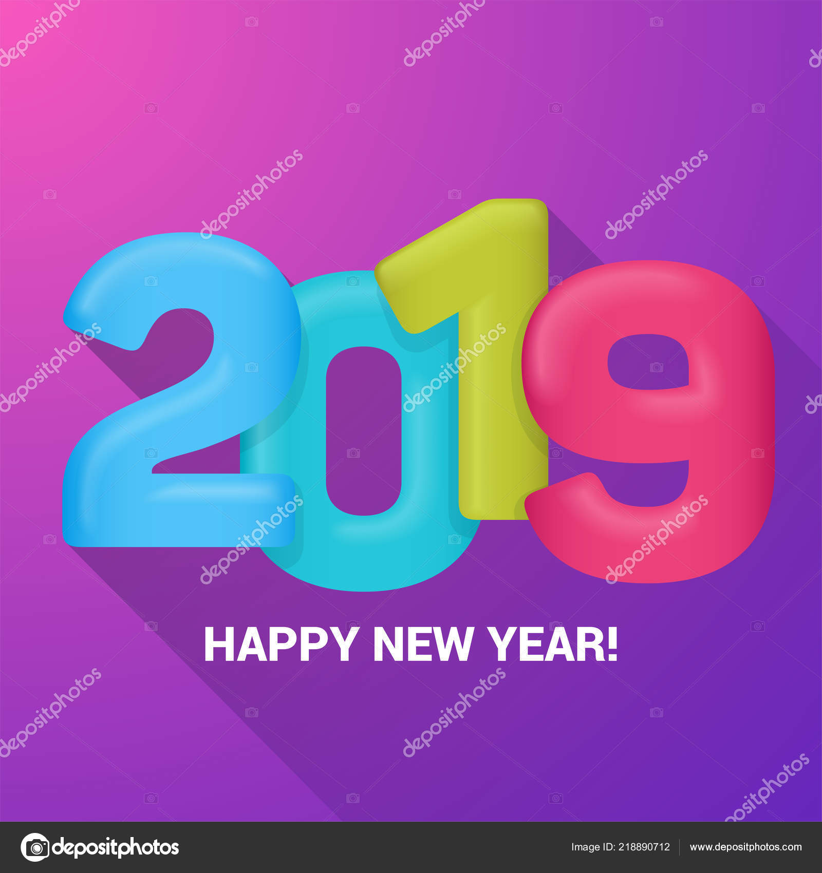 a happy new year greetings card multicolored balloons numeral 2019 vector illustration vector by genestro