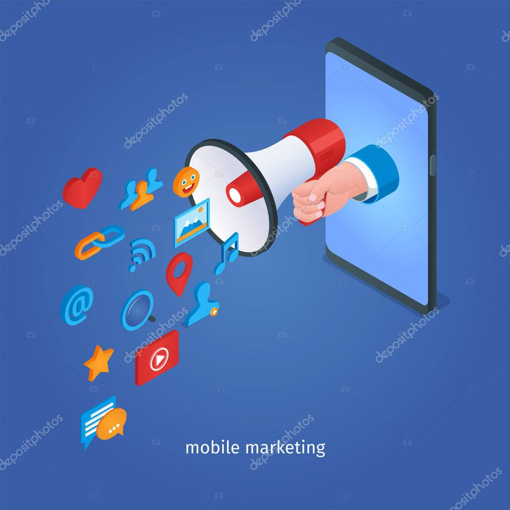 digital marketing concept hand holding loudspeaker and mobile phone isometric vector illustration premium vector in adobe illustrator ai ai format encapsulated postscript eps eps format wdrfree