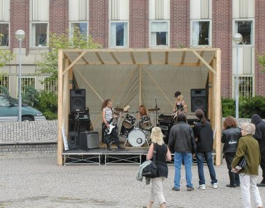 STOCKHOLM, SWEDEN - CIRCA AUGUST 2005: all female metal rock band playing a free outdoor concert in Nacka near Stockholm