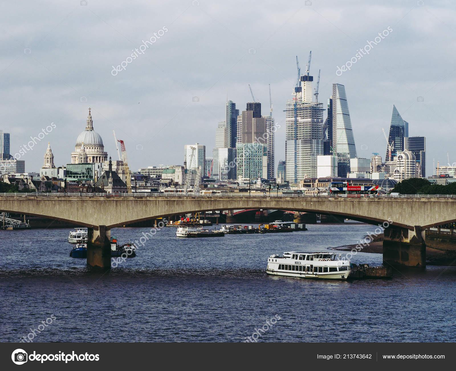 London Circa June 2018 Waterloo Bridge River Thames View