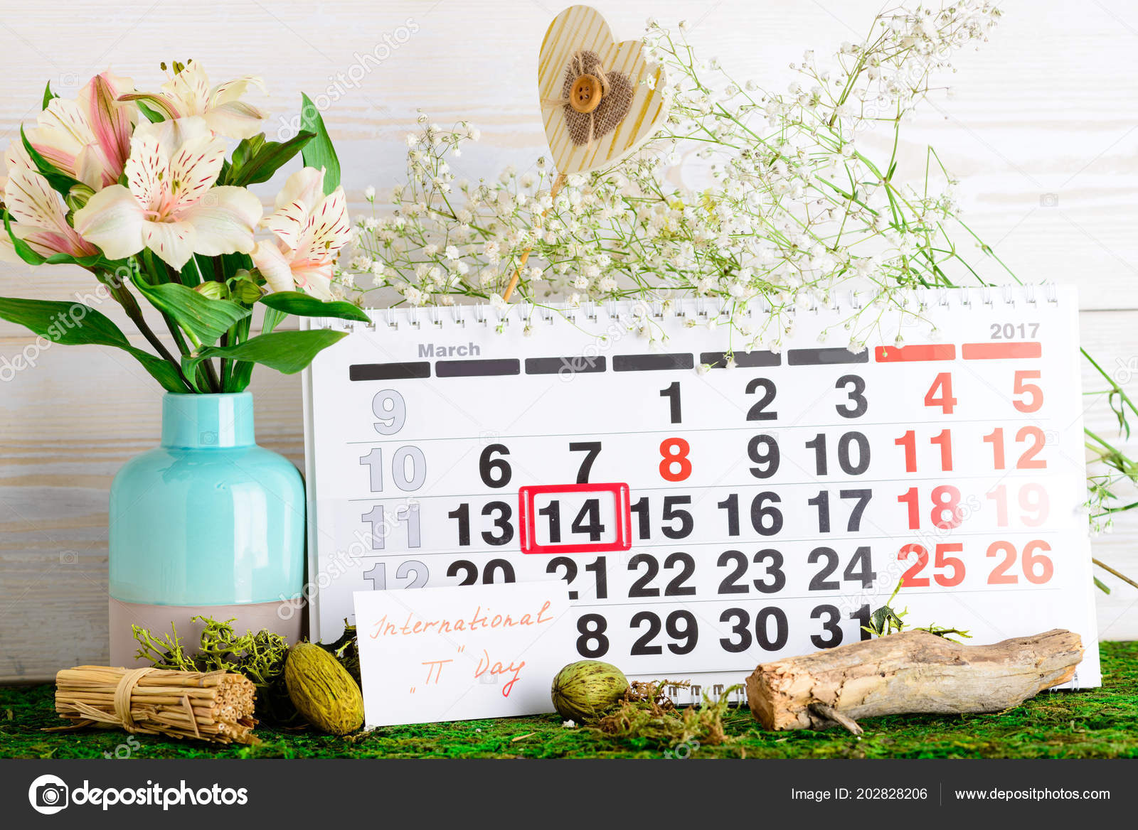 March 14, international day of Pi on calendar — Stock Photo