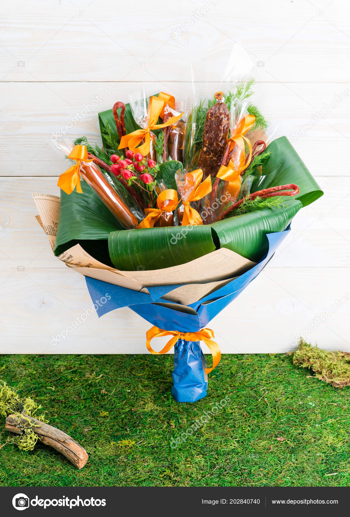 Flower bouquet with sausages and salami stock photo smspsy flower bouquet with sausages and salami mens gift photo by smspsy izmirmasajfo