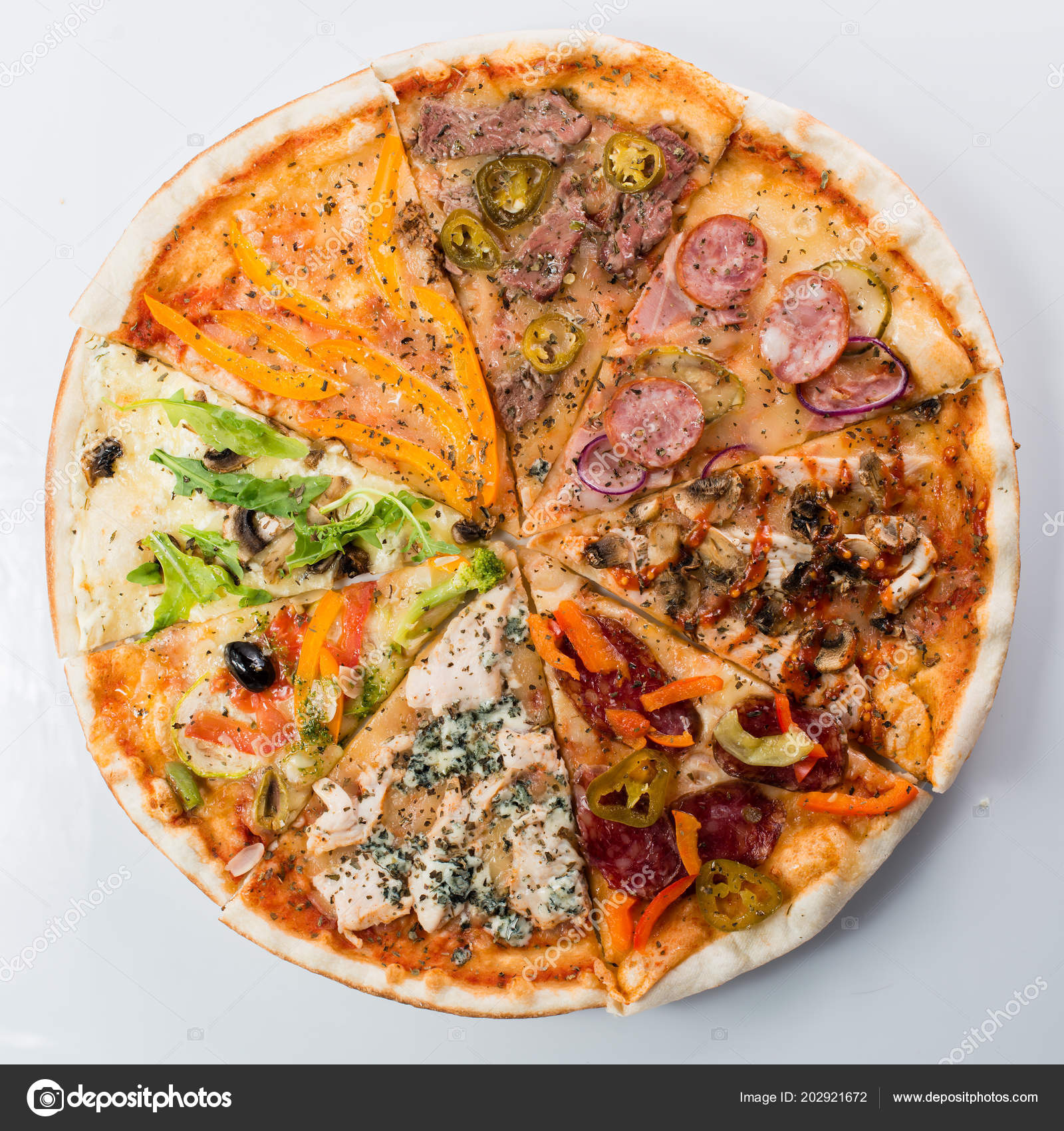 Slices Of Different Pizzas Collected In One Pizza Stock
