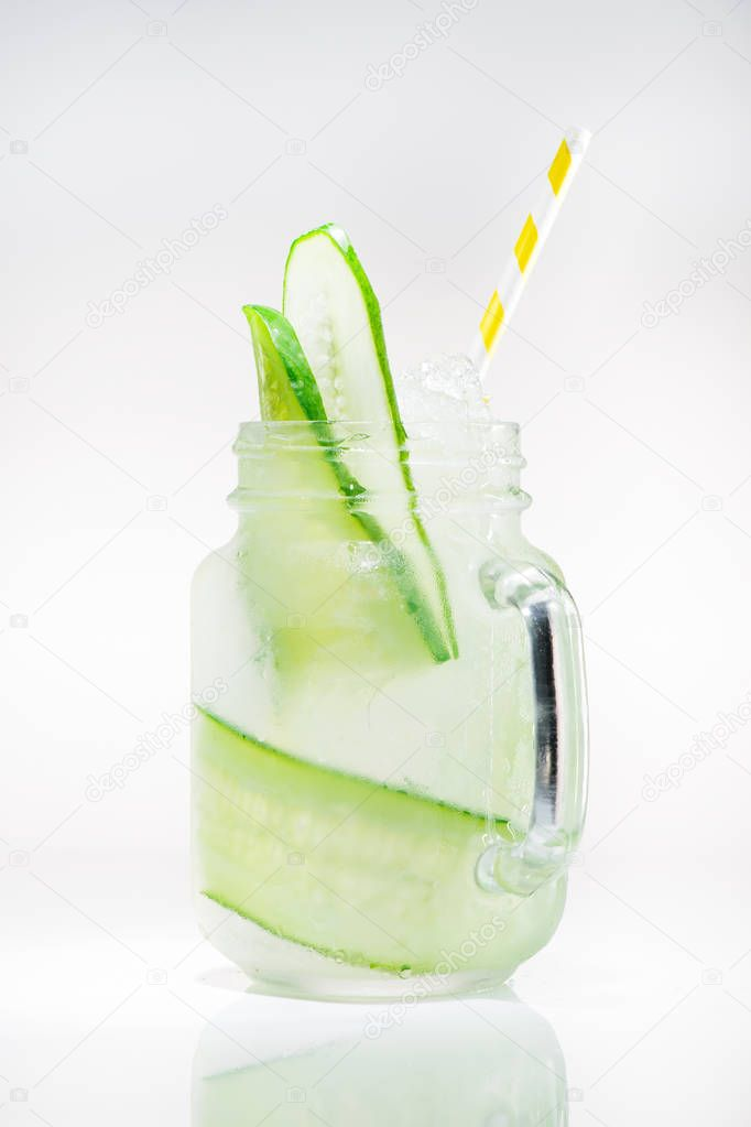 cold lemonade with cucumber