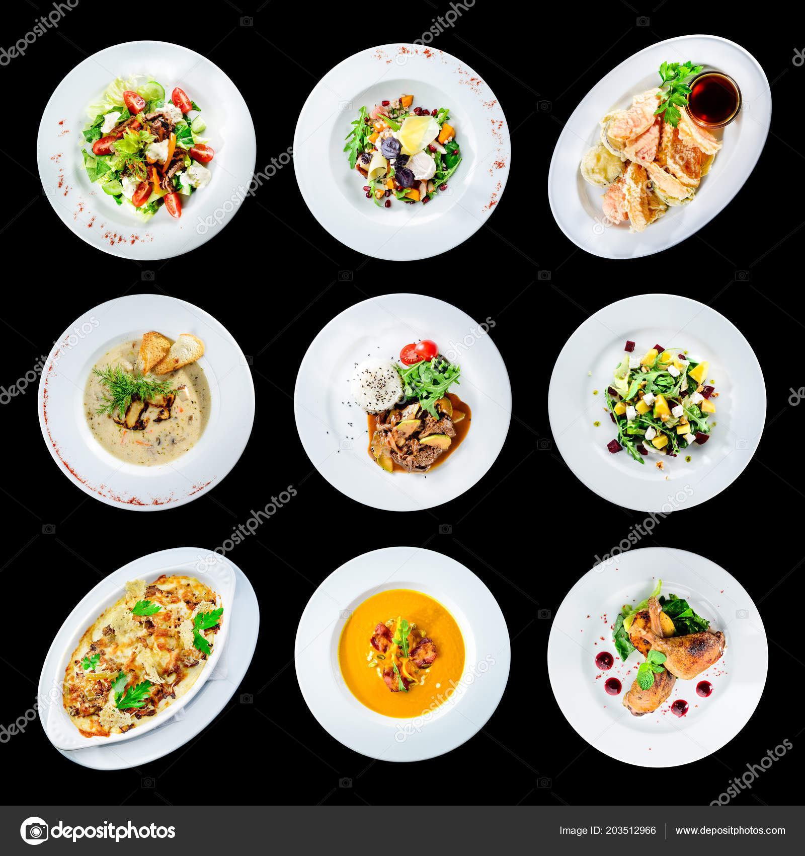 Set Of Various Plates Of Food Isolated On Black Background With Stock Photo Image By C Smspsy 203512966
