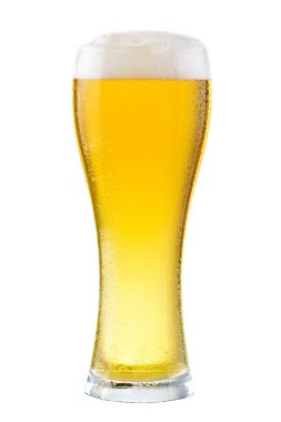 Wet glass of fresh cold light beer with foam isolated on white b