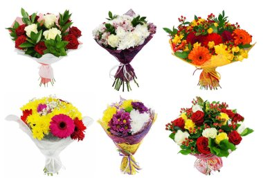 Set of Bouquet of colorful flowers