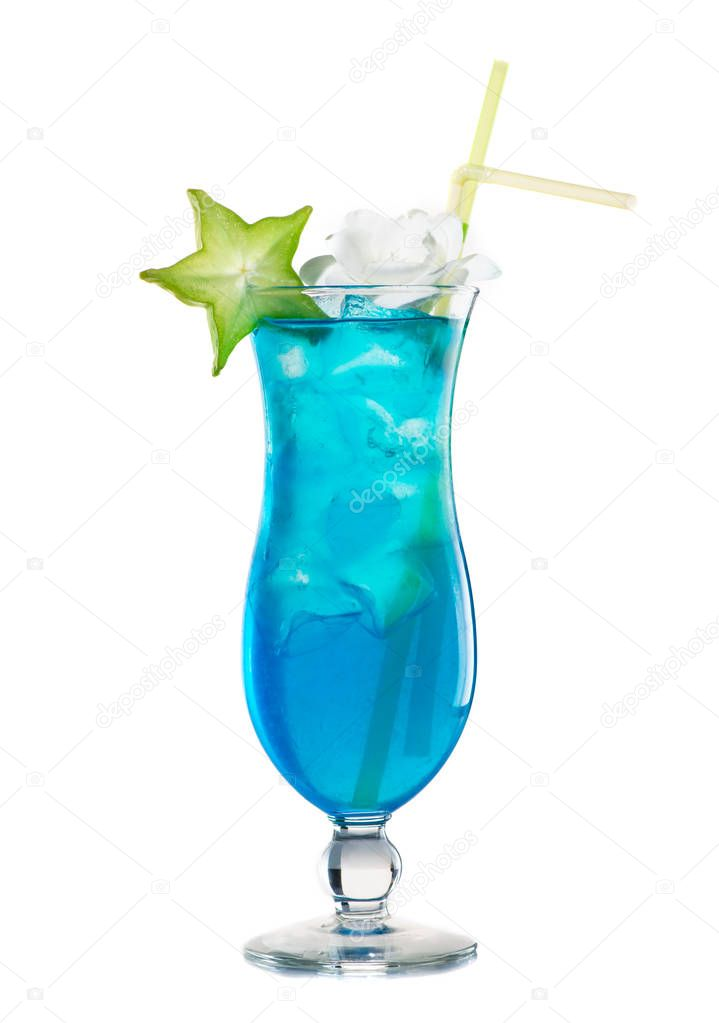 Exotic cocktail of blue color