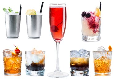 Set of classic cocktails isolated on white