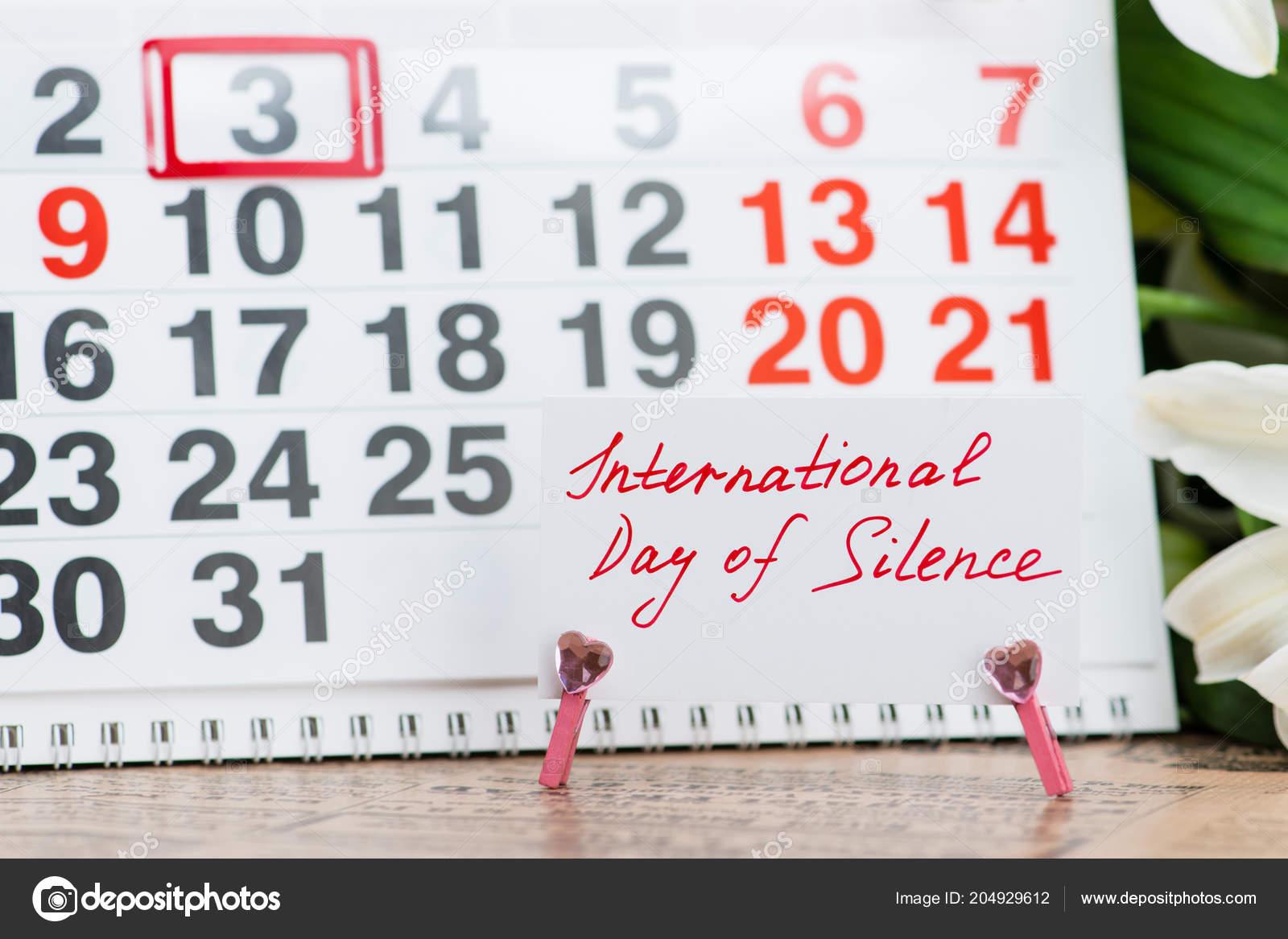 International day of silence on the calendar — Stock Photo