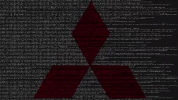 Mitsubishi Logo Made Of Source Code On Computer Screen. Editorial Loopable  Animation U2014 Vídeo De