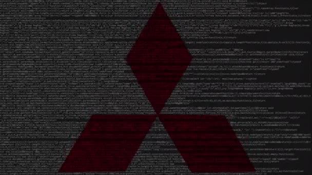 Mitsubishi Logo Made Of Source Code On Computer Screen. Editorial Loopable  Animation U2014 Vídeo De