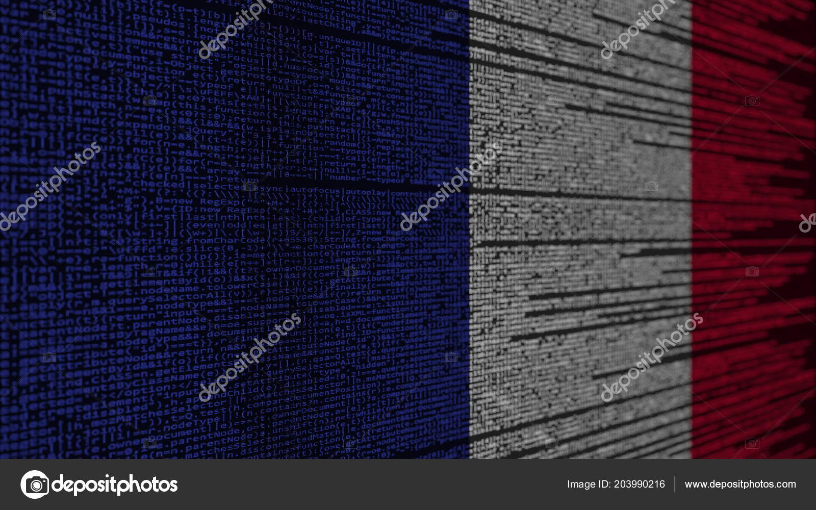 Program code and flag of France  French digital technology or