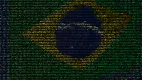 Waving flag of Brazil made of text symbols on a computer screen. Conceptual loopable animation