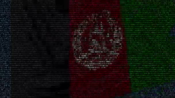Waving flag of Afghanistan made of text symbols on a computer screen. Conceptual loopable animation