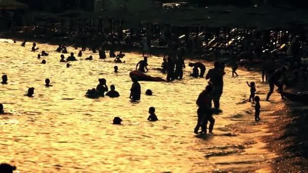 Silhouettes of people on the beach in the evening, slow motion shot