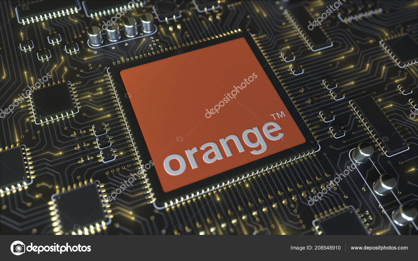 Computer printed circuit board or PCB with Orange S.A. logo ...