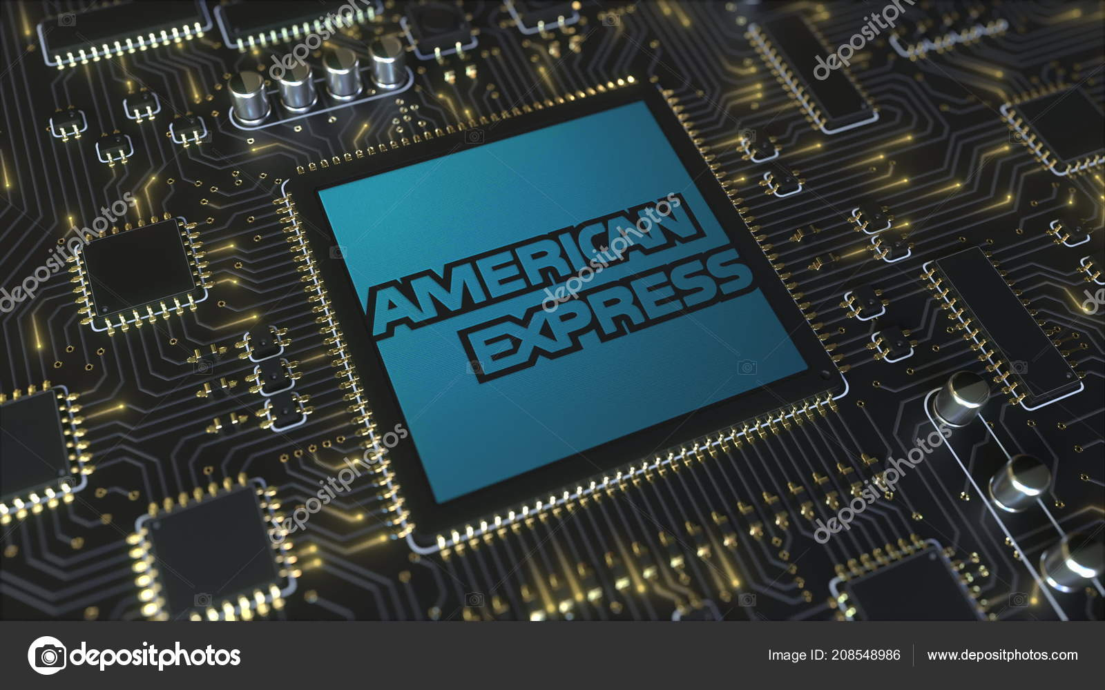 Computer printed circuit board or PCB with American Express