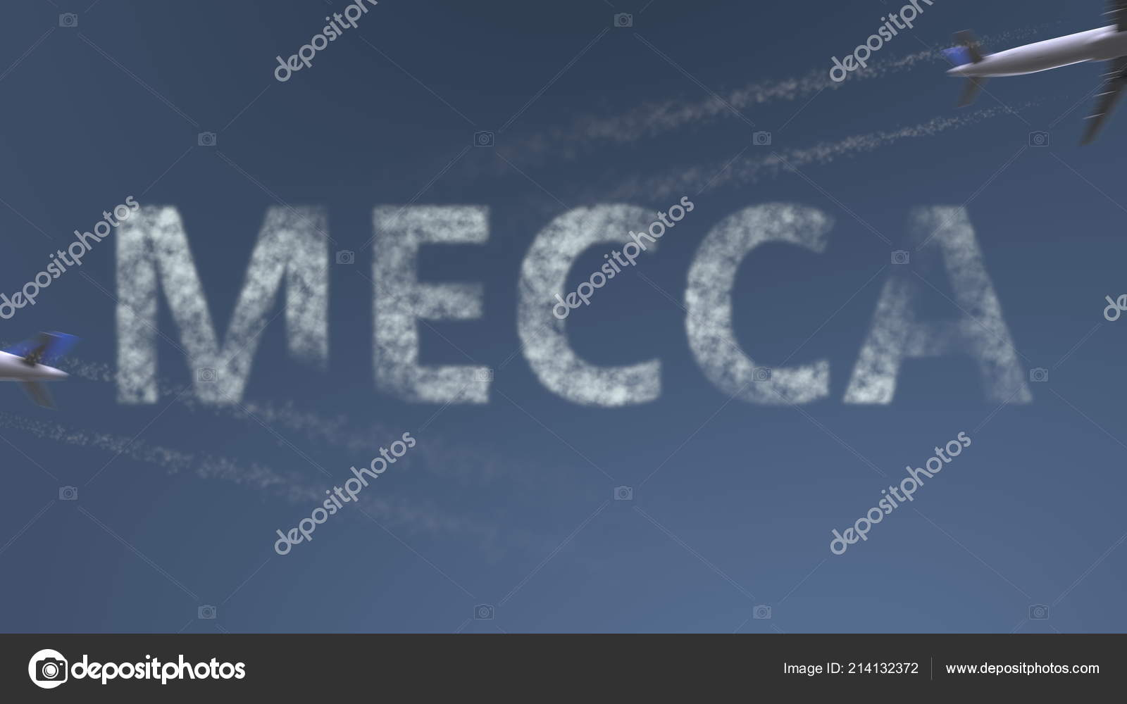 Flying airplanes trails and Mecca caption  Traveling to