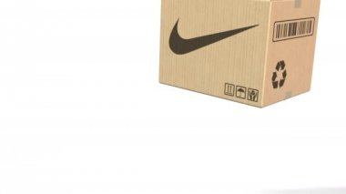 f9df9b04f0c Πτώση κουτί με το λογότυπο της Nike. Συντακτική 3d animation — Αρχείο Βίντεο