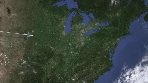 Route of a commercial plane flying to Pittsburgh, United States on the map   Intro 3D animation