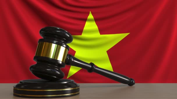 Judges gavel and block against the flag of Vietnam  Vietnamese court  conceptual animation