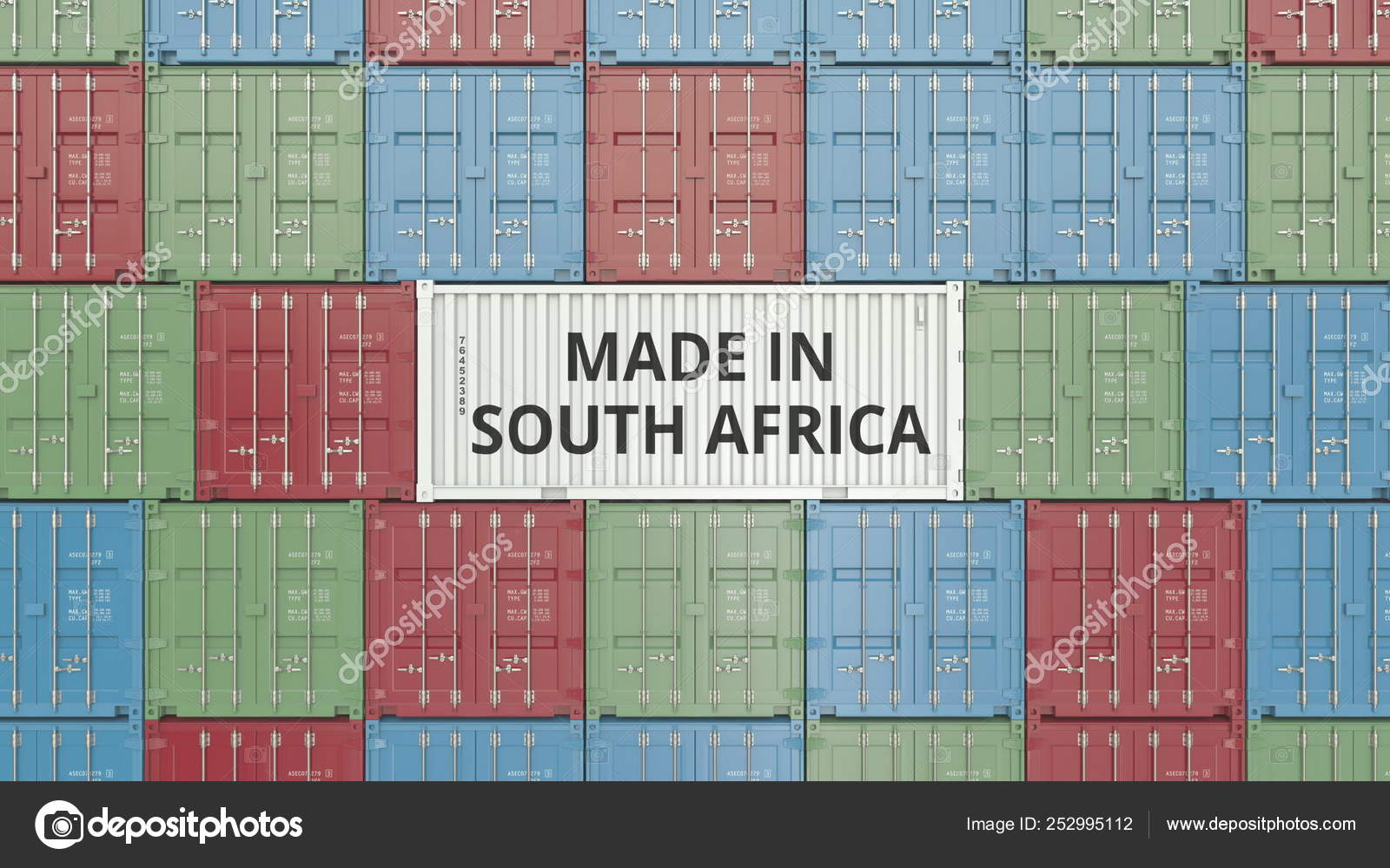 Container with MADE IN SOUTH AFRICA text  Import or export related