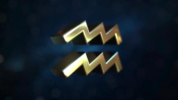 Rotating gold Aquarius Zodiac sign, loopable 3D animation ⬇ Video by ©  alexeynovikov Stock Footage #257263402
