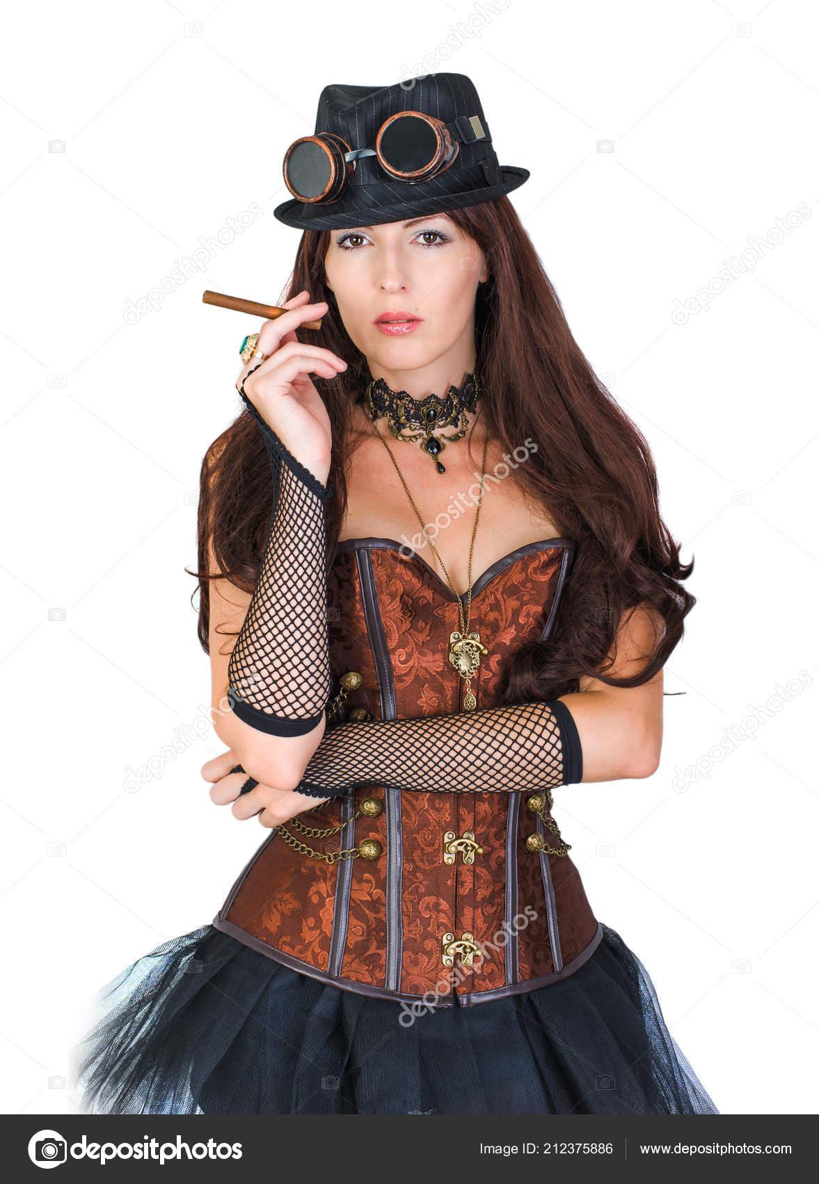 Chica Sexy Traje Steampunk Sosteniendo Cigarro Aislado Sobre Fondo Blanco —  Foto de Stock 3665e1f7cda