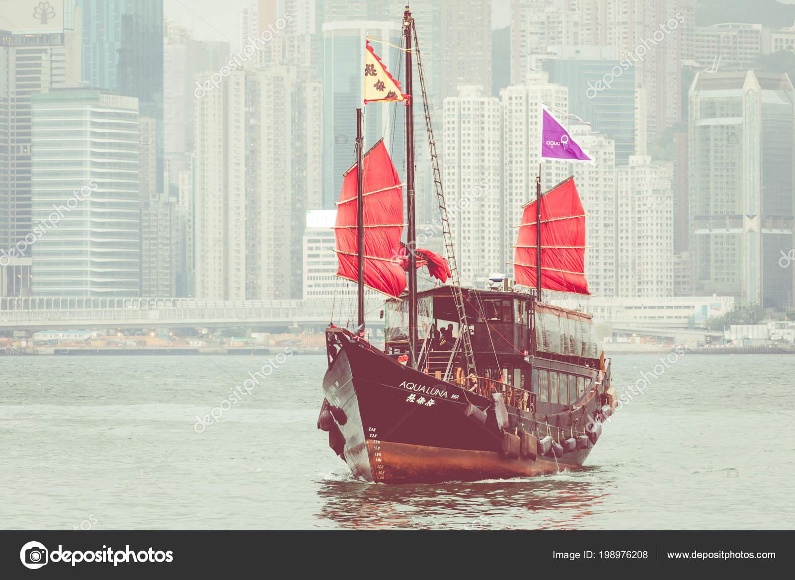 Hong Kong June 2018 Traditional Chinese Wooden Sailing Ship