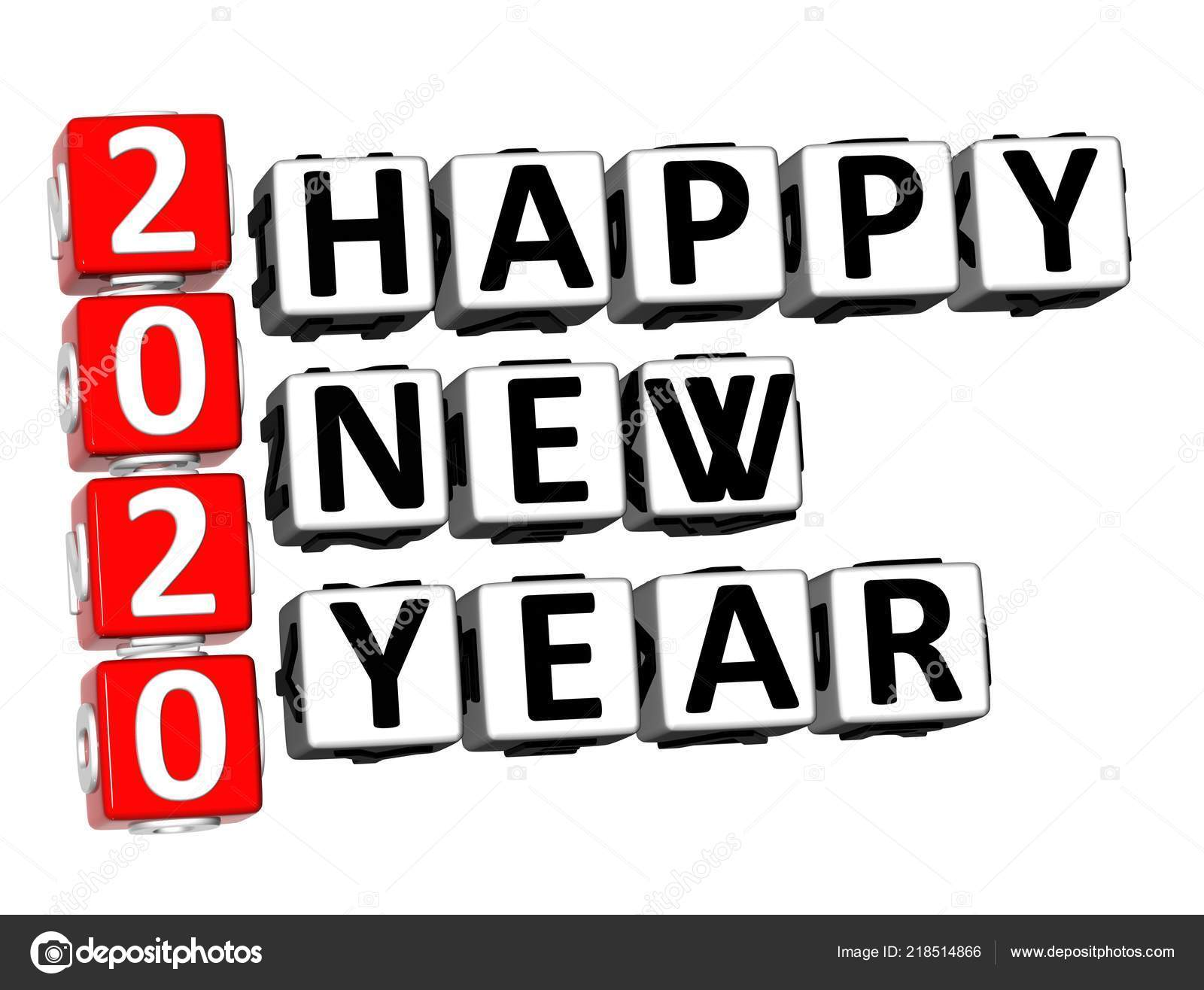 Rendering Crossword 2020 Happy New Year Word White Background ...