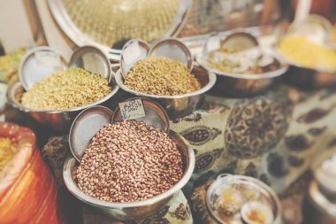 Colorful spices on the bazaar. Iran. Selective Focus.