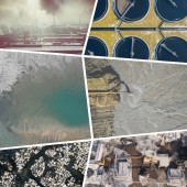 Photo Collage of aerial view on industrial activity and pollution. Con