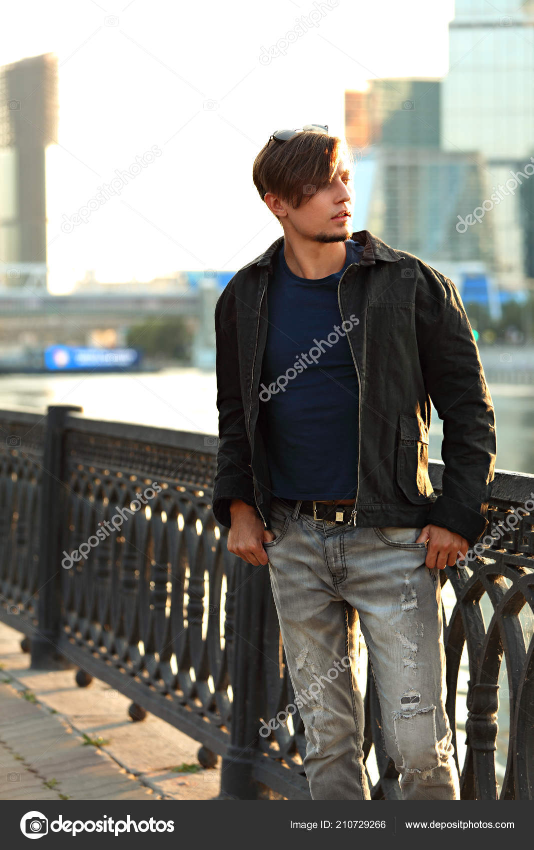 1ed1c19e Thinking Casual Handsome Young Man Walking Fashion Jeans Black Jacket —  Stock Photo