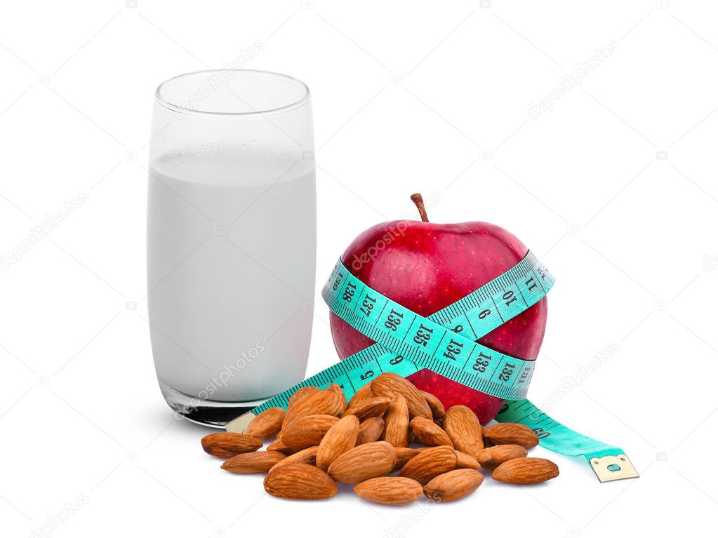 hot milk, apple, almonds, healthy food isolated on white background