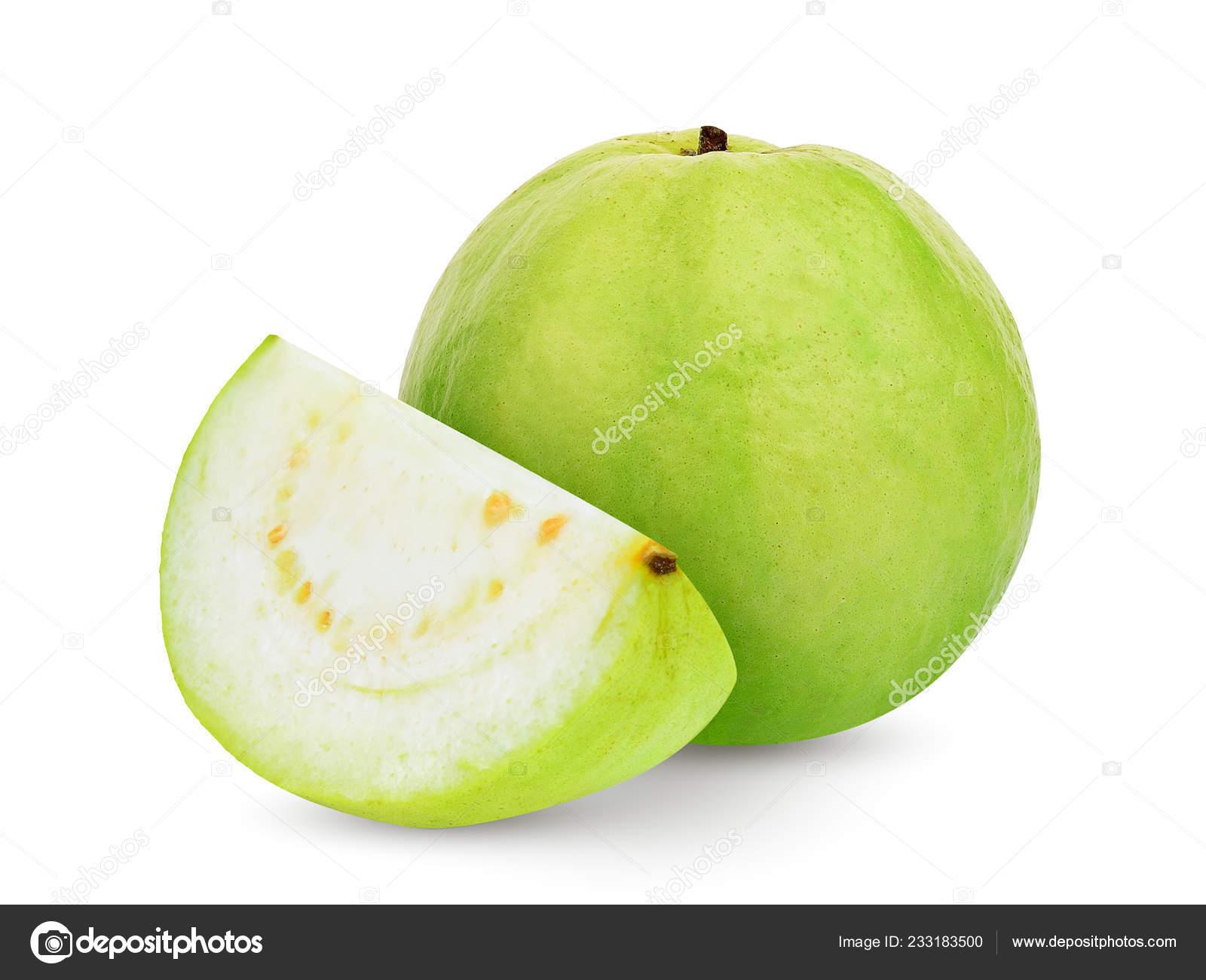 Whole Slice Guava Fruit Isolated White Background — Stock