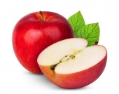 Fotografie ganze und halbe roter Apfel mit grünem Blatt isoliert auf weißem Hintergrund