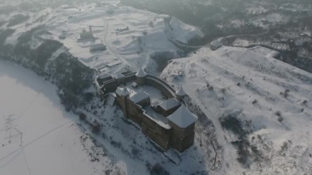 Wonderful view of fortress museum. Picturesque and gorgeous scene. Location famous place Khotyn, western Ukraine, Europe. Beauty world. Explore the worlds beauty. Winter. Aerial view.
