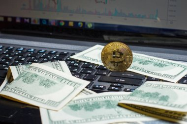 Golden bitcoin lies on a laptop with dollars