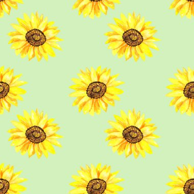 Bright sunflower. Seamless pattern. Hand drawn watercolor illustration. Texture for print, fabric, textile, wallpaper.