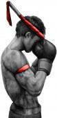 Photo Muay Thai boxer wai khru pray fight ritual