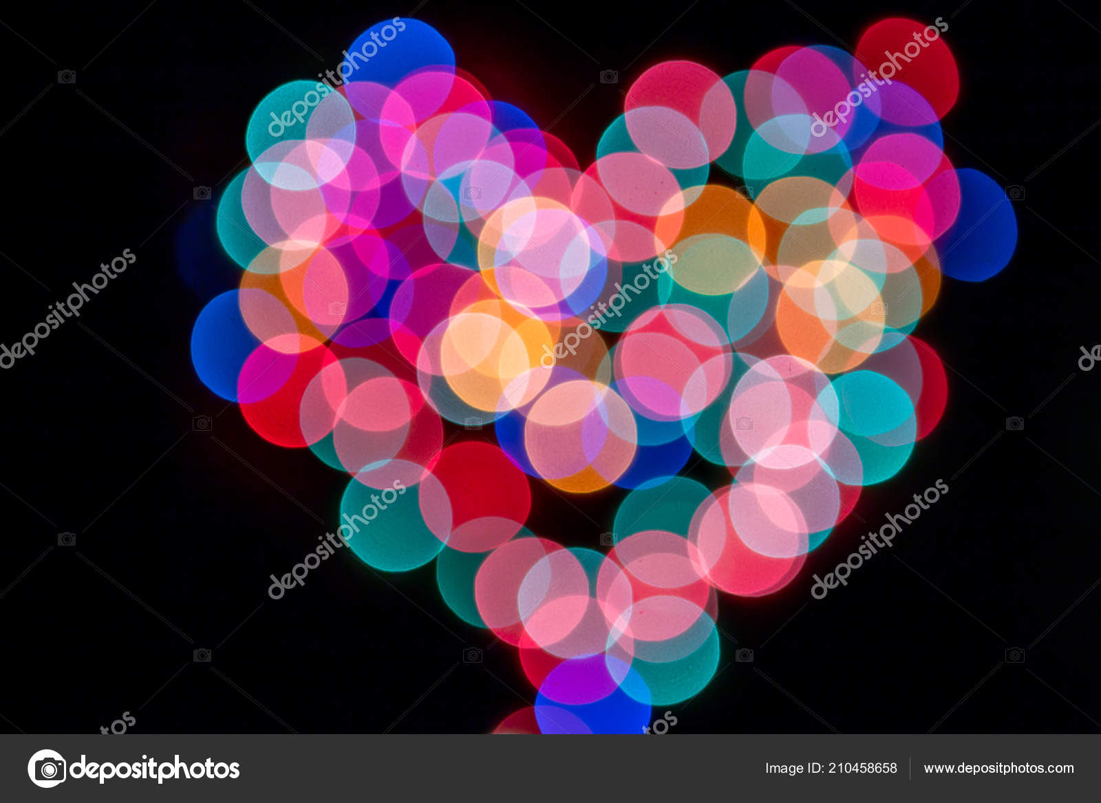 Abstract background with heart shape bokeh defocused lights