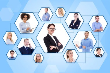 social media and internet concept - portraits of young business people