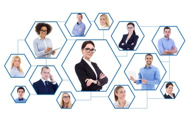 social media and internet concept - portraits of business people isolated on white background