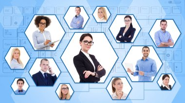 social media, internet and team work concept - portraits of young business people
