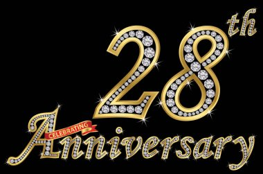Celebrating  28th anniversary golden sign with diamonds, vector illustration